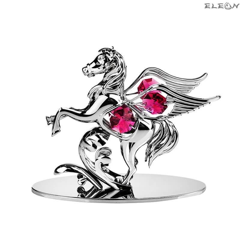 Пегас с червено камъче - Swarovski Crystal RY098