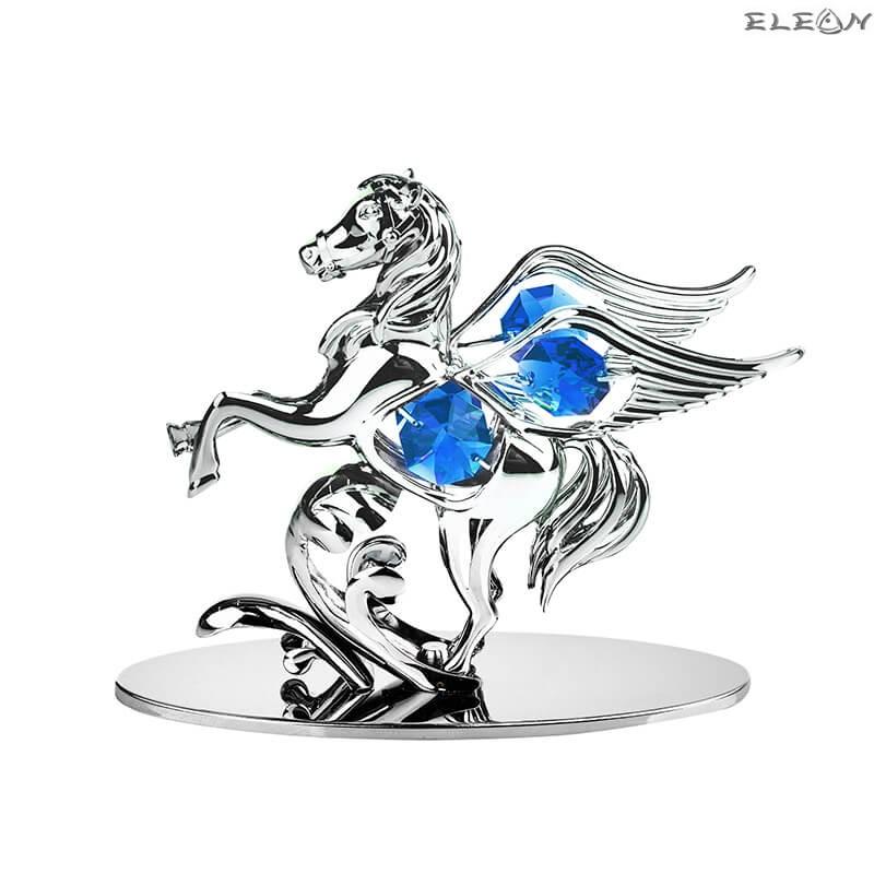 Пегас със синьо камъче - Swarovski Crystal RY099