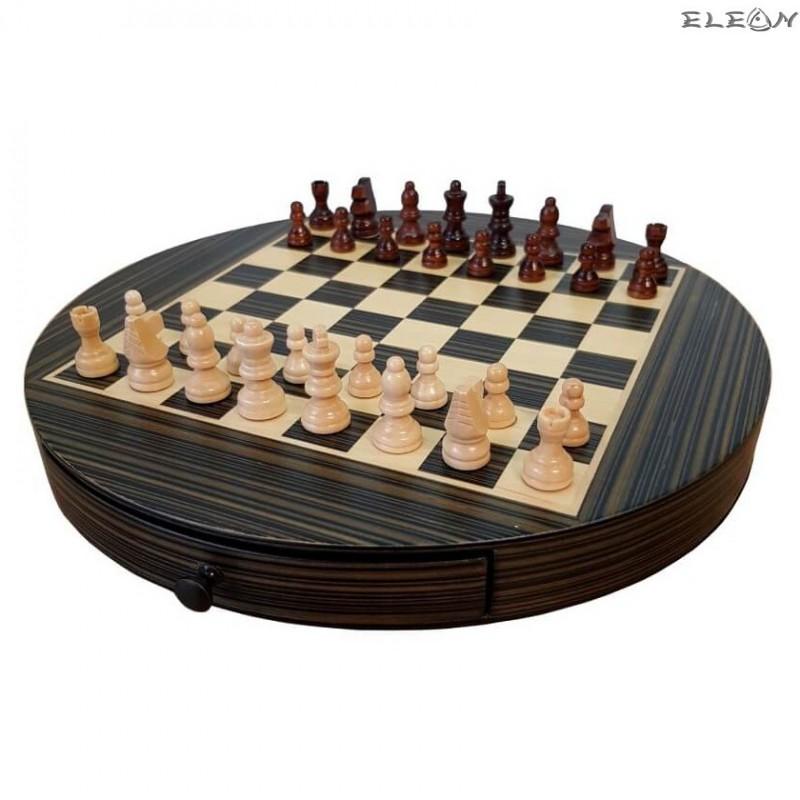ШАХ кръгъл с дървени фигури и дървена дъска - 111