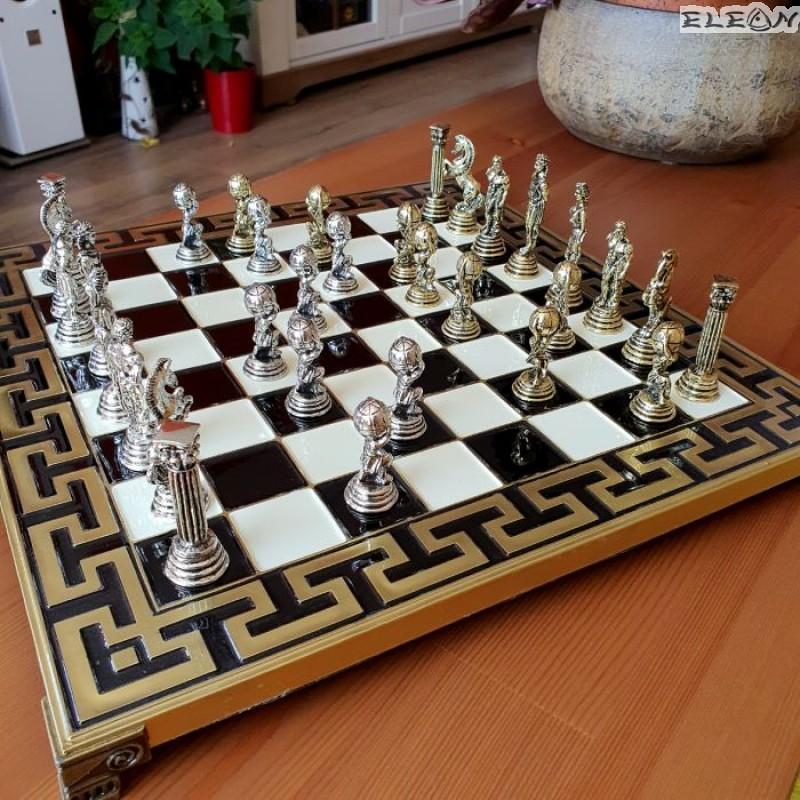 Игра на Шах мат с месингови фигури - АТЛАС