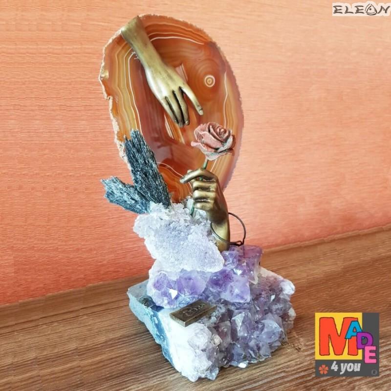Цвете От Любов ∽ Скулптура от бронз и полускъпоценни камъни