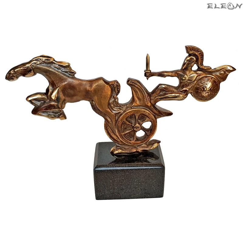 Скулптура от месинг върху мраморен постамент - Ахил 25см - SH113