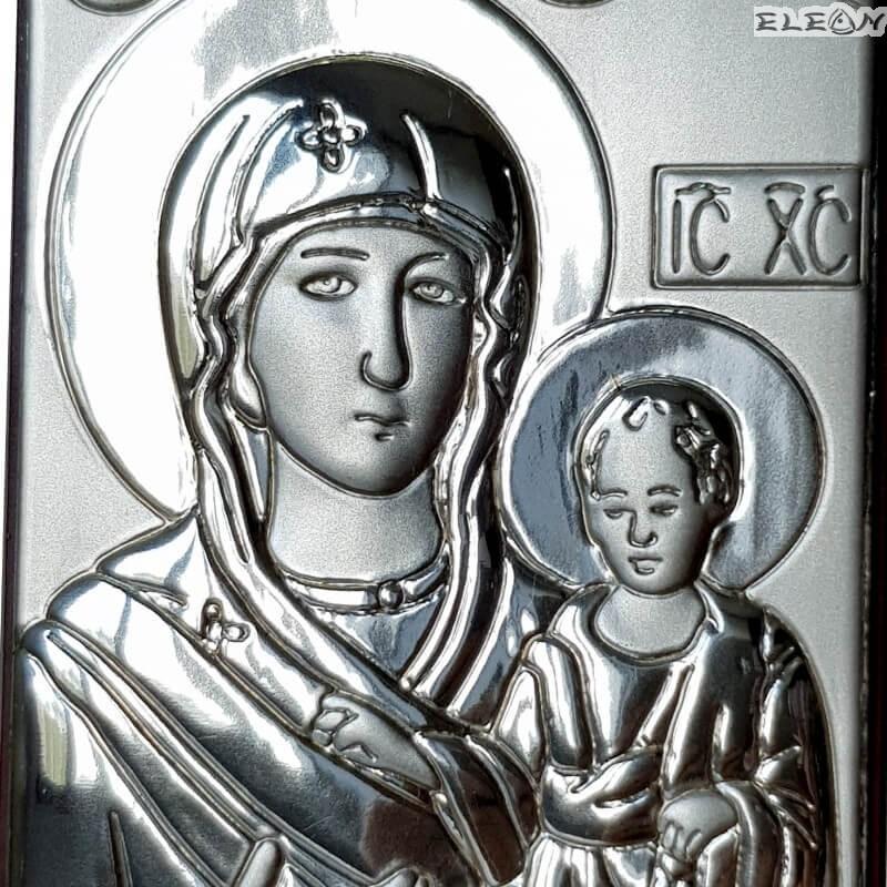Икона посребрена - Дева Мария с младенеца
