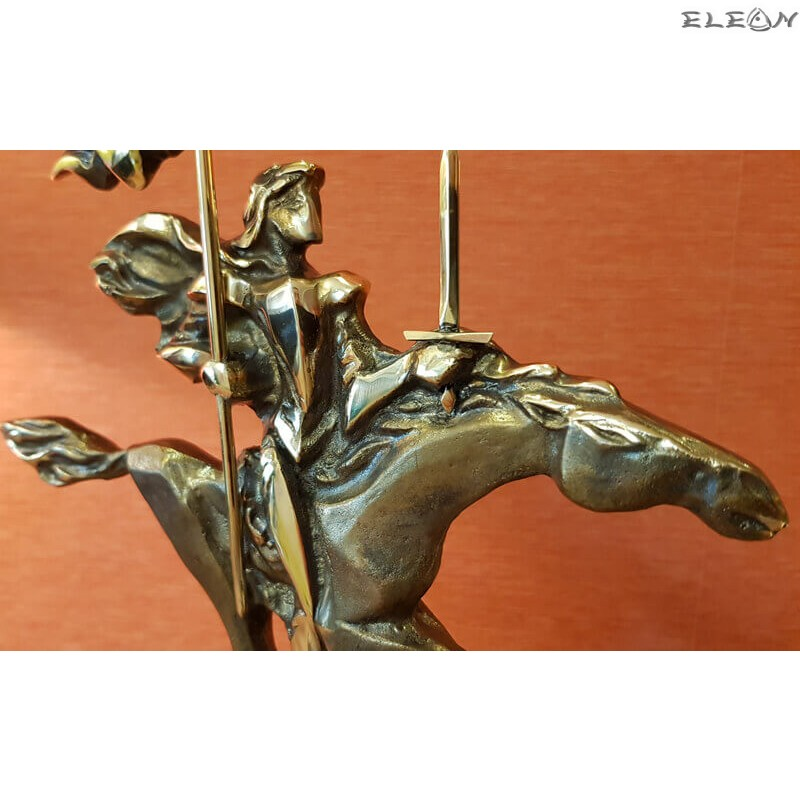 Скулптура от месинг, ръчно изработена върху мраморен постамент - РИЦАР 31см - SH110