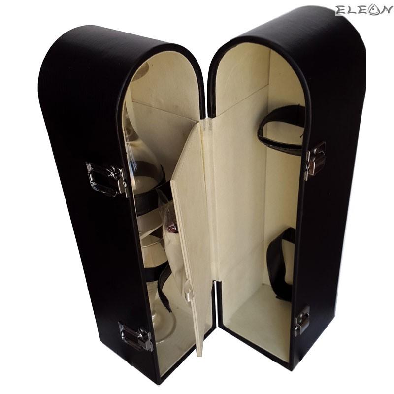 Кожена кутия за вино - черна с 2 чаши и аксесоари