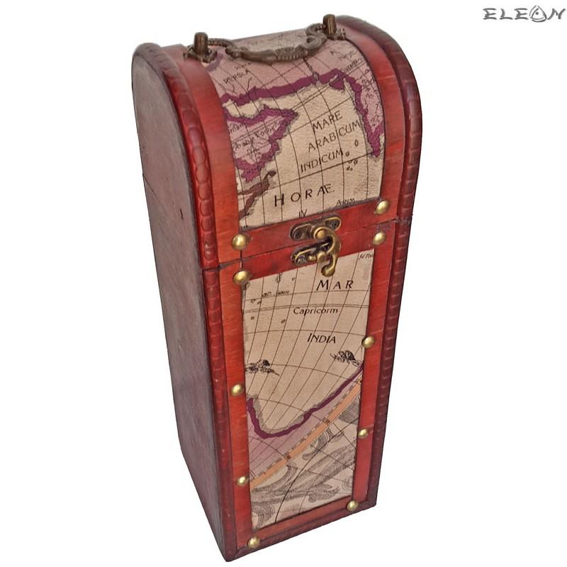 Дървена кутия за вино за 1 бутилка - карта