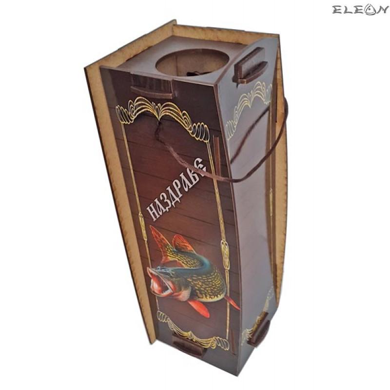 Дървена кутия за вино за 1 бутилка - Рибар