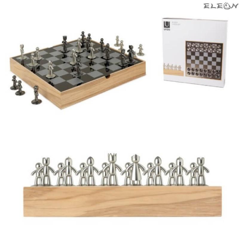 Луксозен шах с метални фигури, метална дъска за игра 36x36см