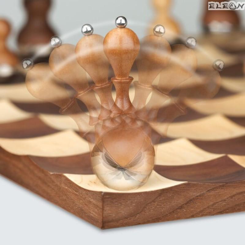 Луксозен шах с люлеещи се фигури, дървена дъска за игра 41x41см