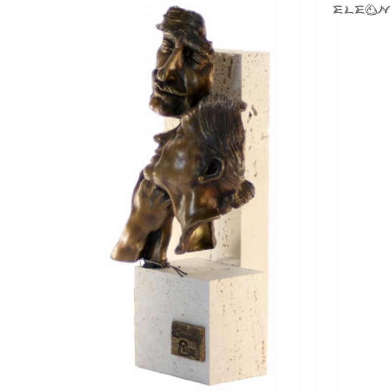статуетка ЮБИЛЕЙ изработена от бронз и травертин