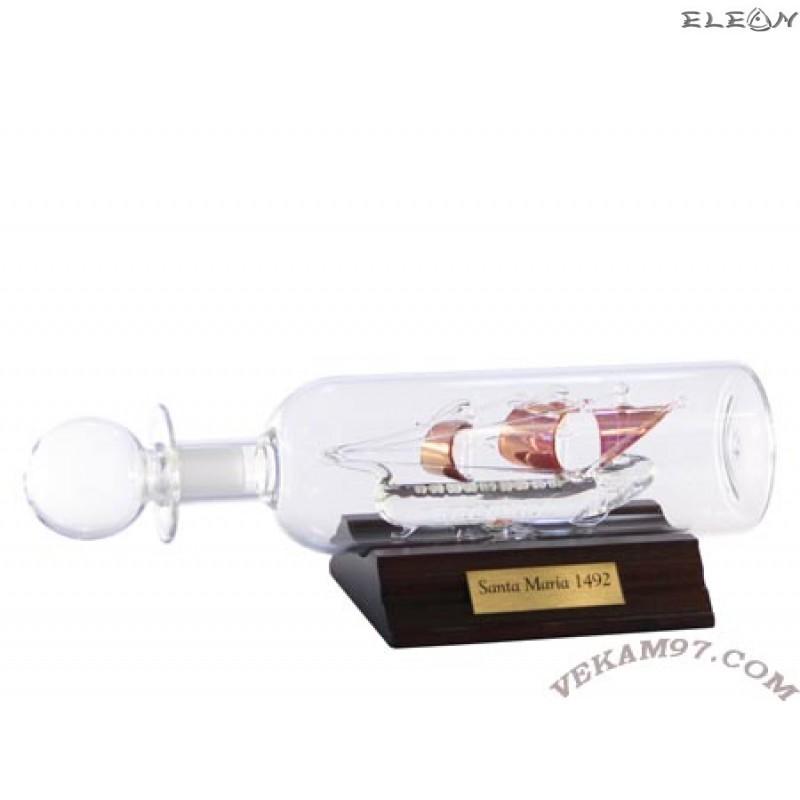 Кораб в бутилка със златни платна 049131 - SANTA MARIA