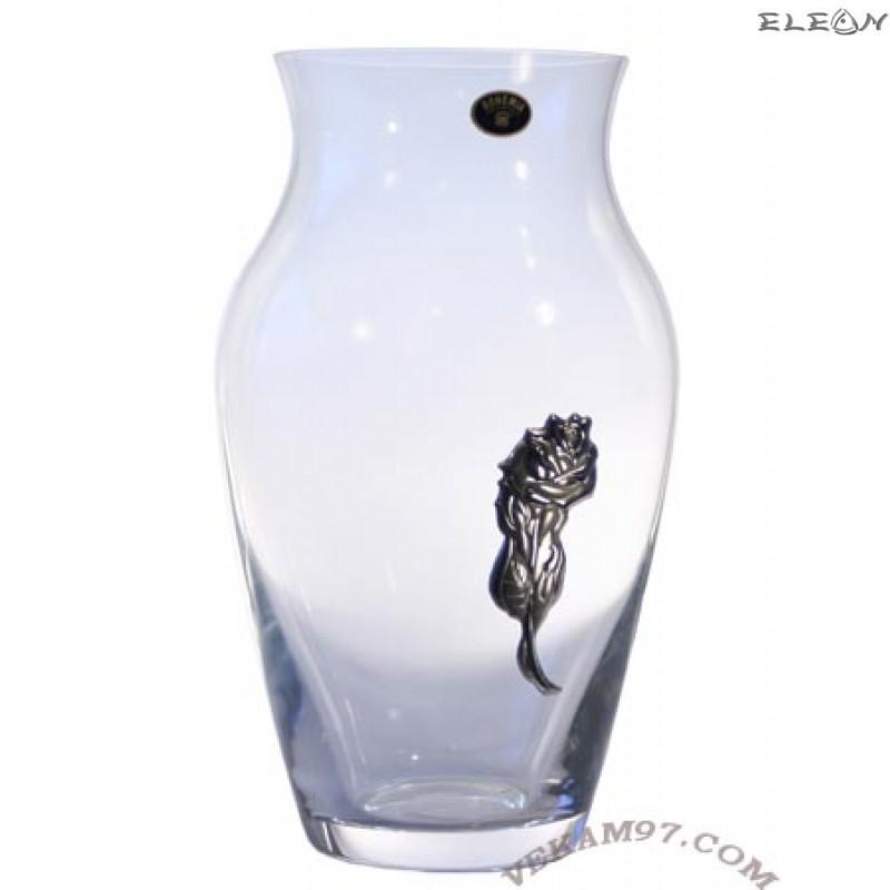 Стъклена Ваза Bohemia със сребро - 6200