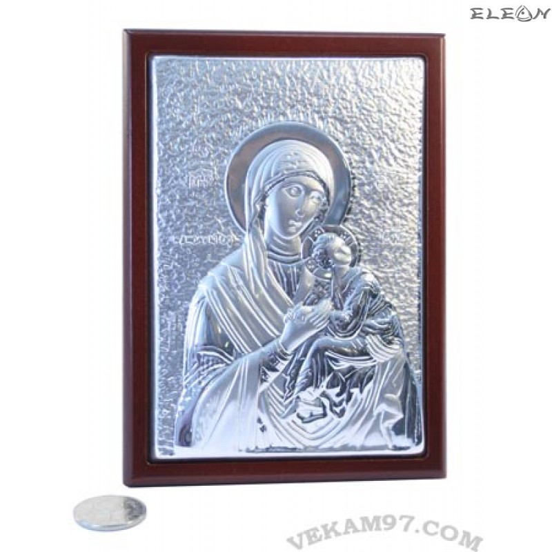 икона Дева Мария с младенеца - посребрена