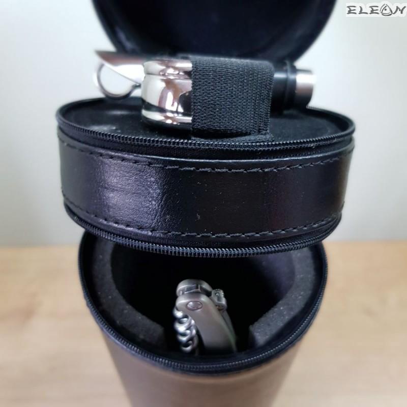 Цилиндрична кожена кутия за вино с аксесоари - 311
