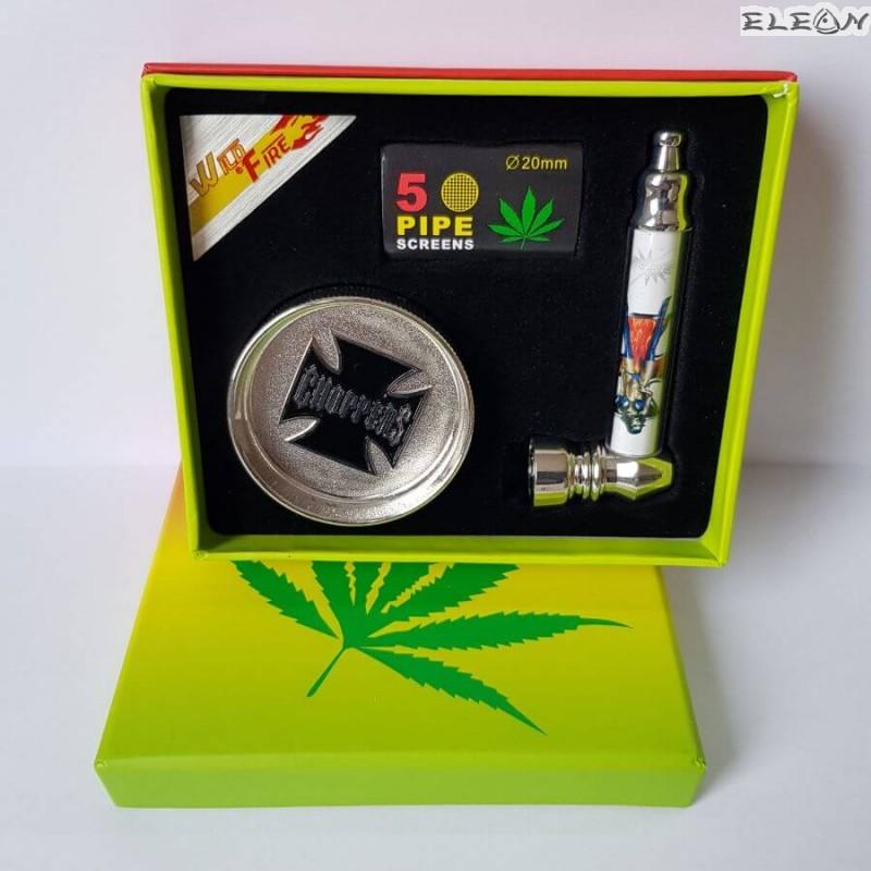 Лула с мелничка, подаръчен комплект 3 части - лула, гриндер, филтри