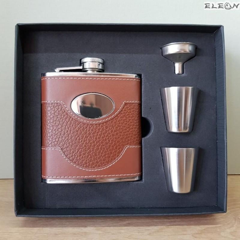 Джобна бутилка за алкохол с чашки, комплект 5 части, 180ml, ZP022281