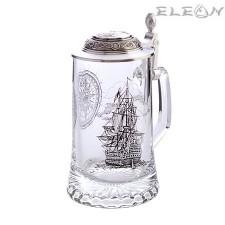 подарък Стъклена Халба за бира с капак и рисунка Кораб GE66403