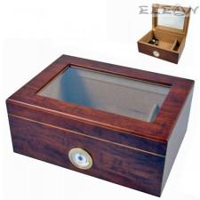 подарък Хумидор с прозорец и външен влагомер, Кутия за Пури 30бр, прозрачен капак, кедрово дърво, Angelo 920110 AK 920110