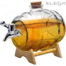 подарък Стъклено Буре за алкохол с канелка на дървена поставка - 1 литър NWV/VB FIA 468