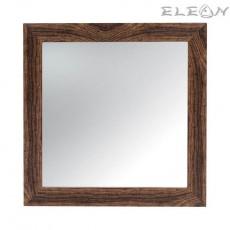 Огледало за стена 37х37см, Квадратно, Дървена рамка, Кафяво
