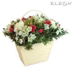 Кошничка с Декоративни Рози микс DEL142 - 14см