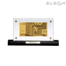 Златна Банкнота Евро ORH2, 24 карата, на стойка за бюро, 28/15см