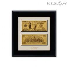 Златна банкнота Долар ORH3, 24 карата, в черна правоъгълна рамка 32/32см