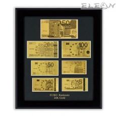 Колекция от различни по номинал Златни Банкноти Евро ORH6, 24 карата, в черна рамка 54/47см