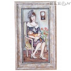 Авторска Картина - Дама с котарак, 41х25см, Емануела