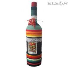 Шише за алкохол с тапа - ръчно плетено