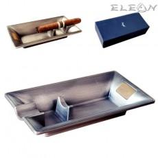 Пепелник за пури, единичен, сив, метален пепелник, 16x9см, AK421150