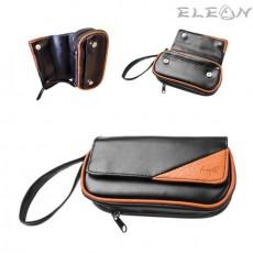 Кожена чанта за 2 лули, допълнителна торбичка за тютюн и аксесоари, черен с оранжево, Angelo 832020