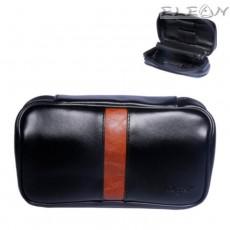 Кожена чанта за 2 лули, торбичка за тютюн, отделения за аксесоари, черен с оранжево, Angelo 832040