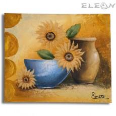 Картина за стена с маслени бои - Слънчогледи, 60х50см, Цветя 04, Авторска, Лорета Арт
