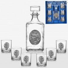 Сет за уиски от 7 части, бутилка 1л с орнамент Честит Рожден Ден и 6 чаши грозд, Artina DG011