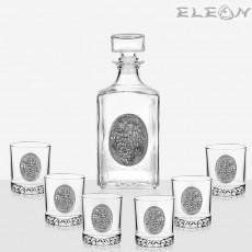 Сет за уиски от 7 части, бутилка 1л с орнамент Грозд и 6 чаши грозд, Artina DG018