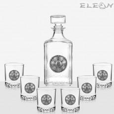 Сет за уиски от 7 части, орнамент розетата от Плиска, бутилка 1л и 6 чаши, Artina DG019