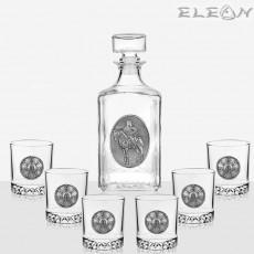 Сервиз за уиски 7 части, бутилка 1л с орнамент Прабългарин и 6 чаши розета Плиска, Artina DG020