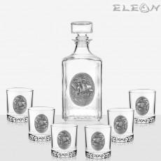 Комплект уиски 7 части, бутилка 1л и 6 чаши с орнамент кораб, Artina DG021