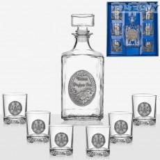 Сет уиски 7 части, бутилка 1л с орнамент Честит Рожден Ден и 6 чаши розета Плиска, Artina DG024