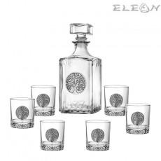 Сет уиски 7 части, бутилка 1л и 6 чаши с орнамент Дървото на живота, Artina DG068
