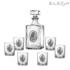 Луксозен сет за уиски 7 части, бутилка 1л и 6 чаши с орнамент кораб, Artina DG069