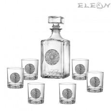 Сет за алкохол 7 части, бутилка 1л и 6 чаши с орнамент Звездна карта, Artina DG071
