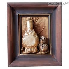 3D Картина - бъклица с кесийка - пано изработено от кожа и дърво, 28х24см