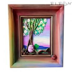 3D Картина Пролет - пано изработено от кожа и дърво, 28х24см