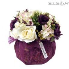 Аранжировка Декоративни Цветя DEL06, бели и лилави рози, 18см