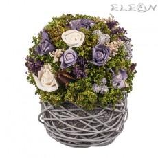 Аранжировка Декоративни Цветя DEL176, бели и лилави рози, 21см