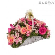 Аранжировка Декоративни Цветя DEL186, кошница микс цветя, 19см