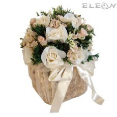 Аранжировка Декоративни Цветя DEL20, бели рози, 15см