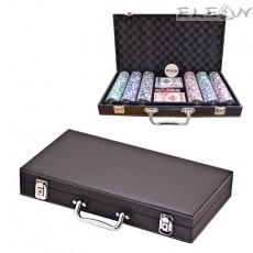 Покер чипове с номинал, сет 300 чипа в стилно кожено куфарче